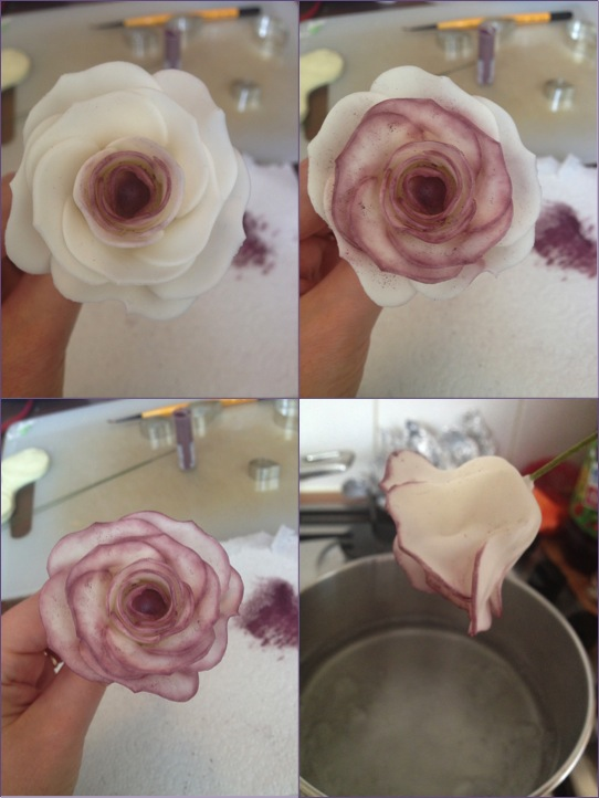 Colour was added to the tips of the petals moving from the centre outwards, before the rose was held in steam for 10 seconds to give it a glossy finish.