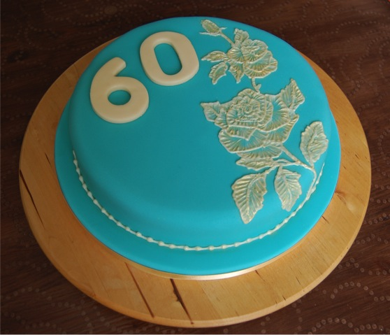 brush embroidery 60th birthday cake