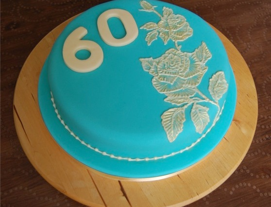 brush embroidery 60th birthday cake