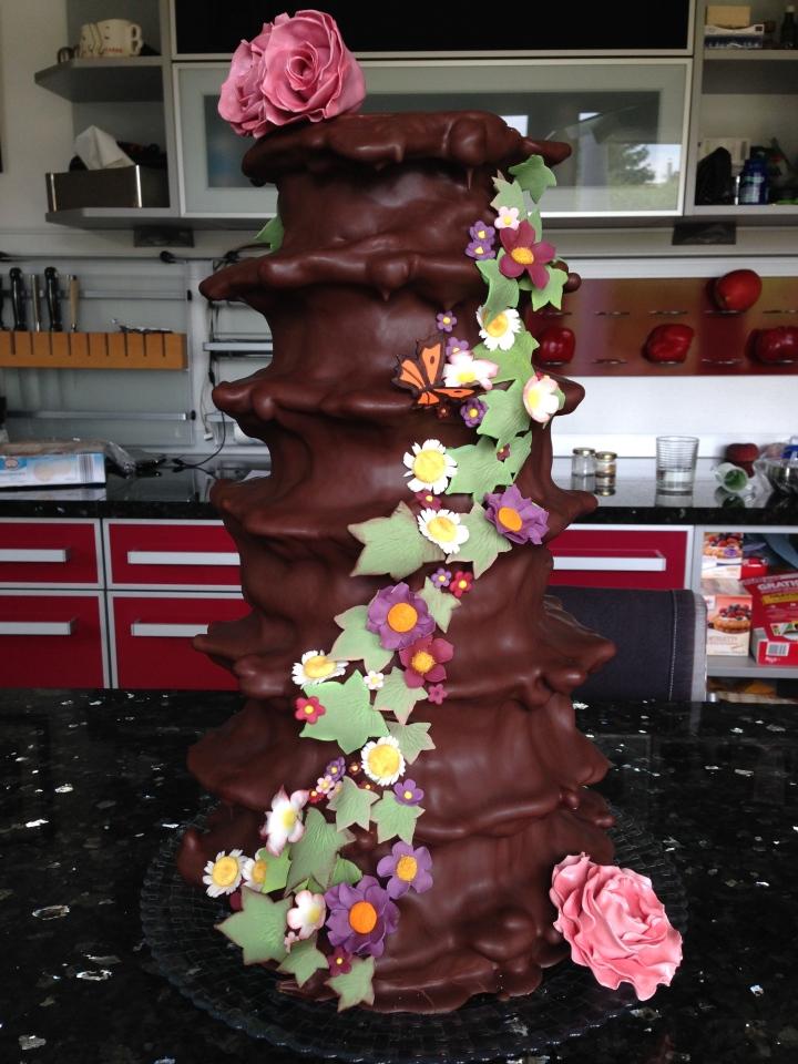 Wild flower Baumkuchen wedding cake