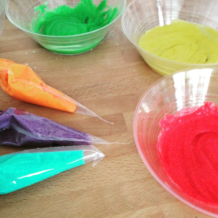 Rainbow-coloured cake mix