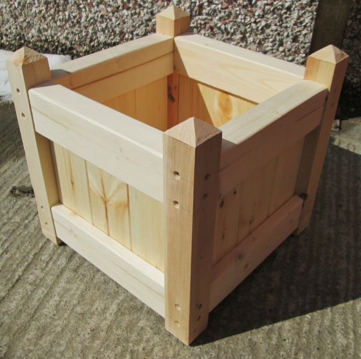Untreated wooden planter