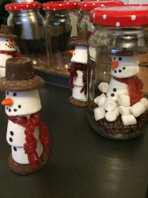 """The scary """"getting the snowman into the jar"""" phase."""
